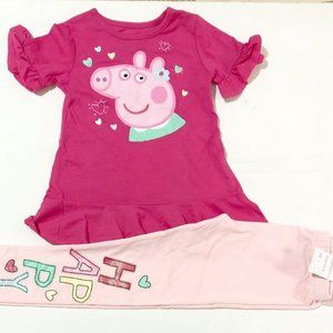 BNWT Peppa pig Berry ping top and light pink pants set